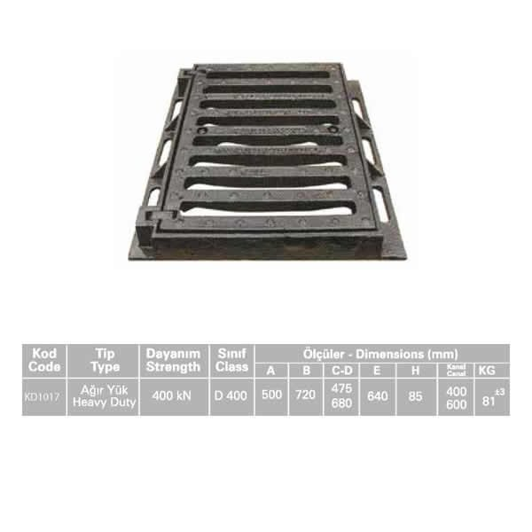 KD1017 Ductile Iron Stormwater Channel Grid