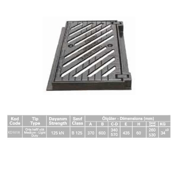 KD1018 Ductile Iron Stormwater Channel Grid